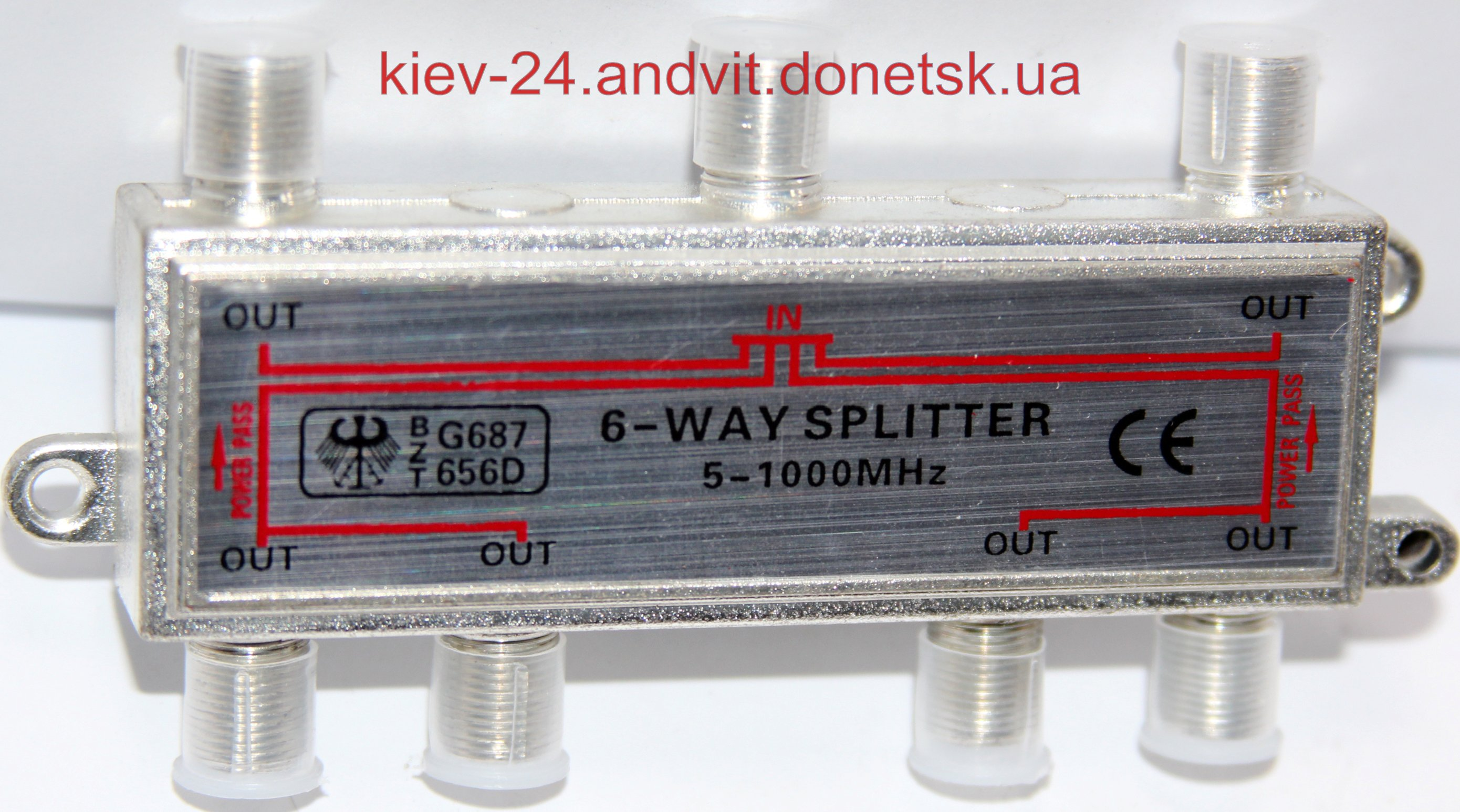 картинка Splitter 6-way Germany HQ 5-2000MHZ, корпус металл от интернет магазина Radiovip