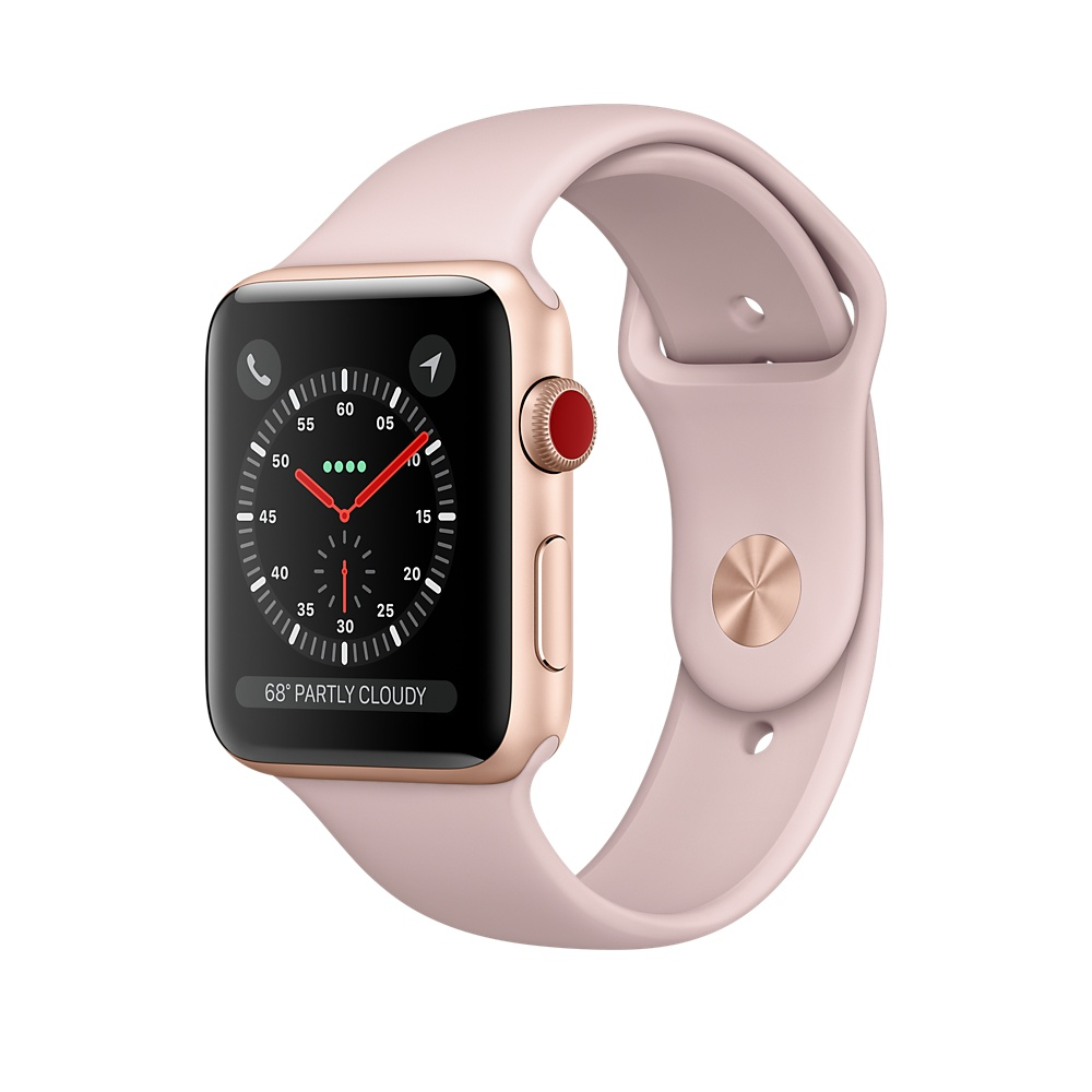 Apple Watch Series 3 GPS 38mm Gold Aluminium Case with Pink Sport Band (MQKW2FS/A)