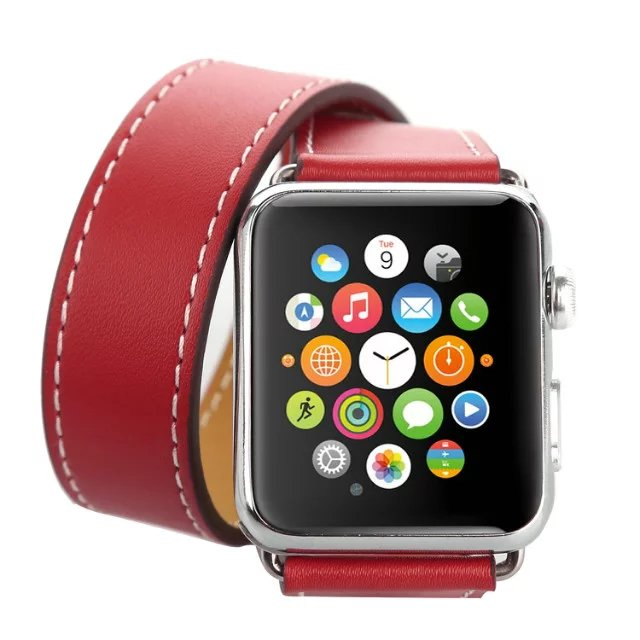 Ремешок Hermes Leather Double Tour Red для Apple Watch 42мм