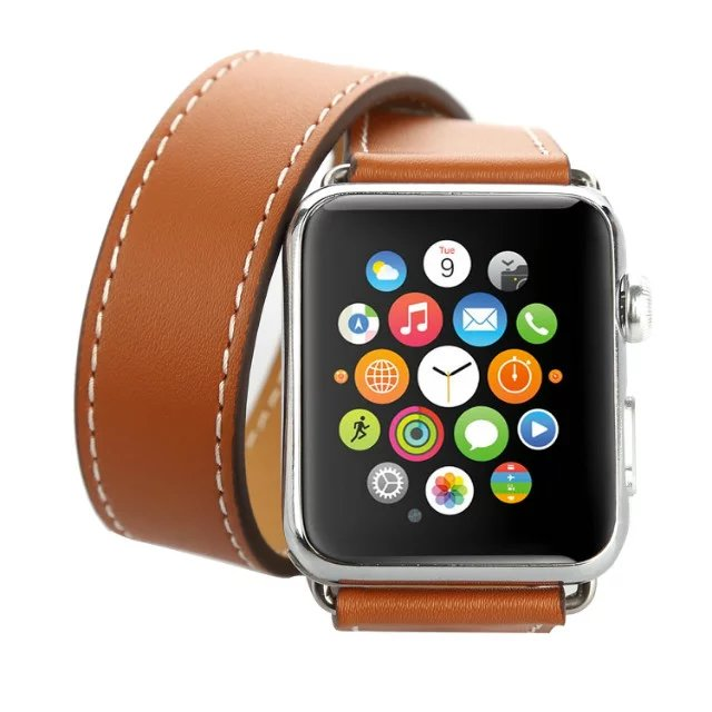 Ремешок Hermes Leather Double Tour Brown для Apple Watch 42мм