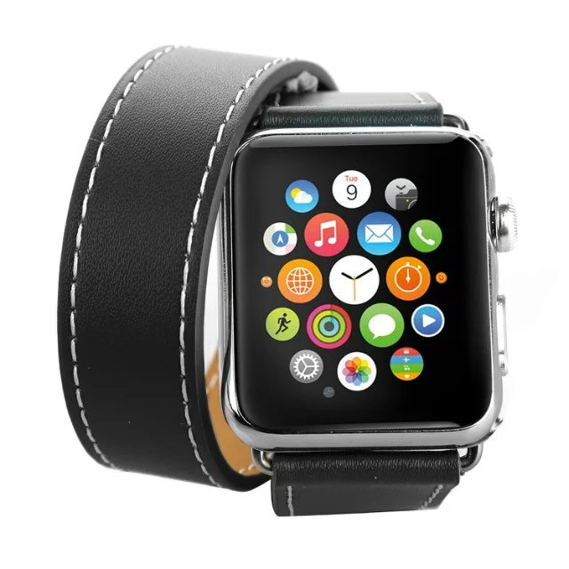 Ремешок Hermes Leather Double Tour Black для Apple Watch 42мм